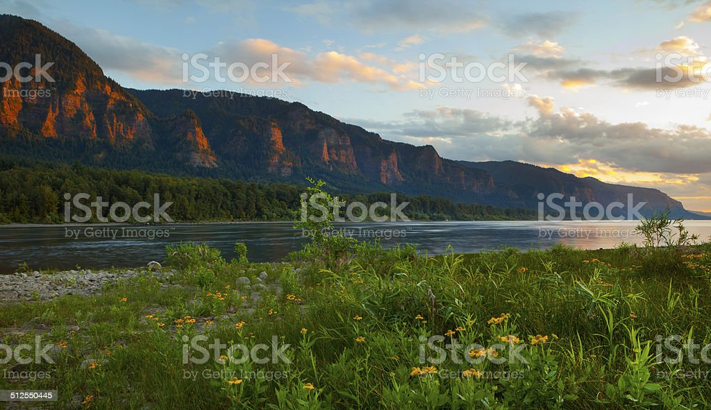 Columbia River Gorge Sunset. stock photo