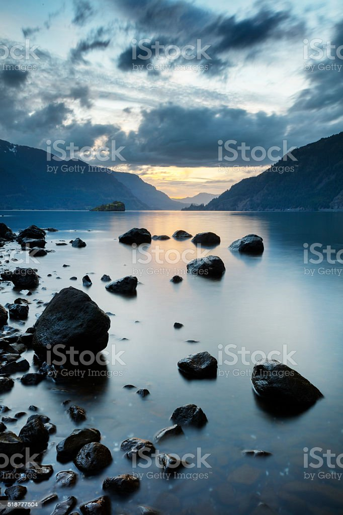 Columbia River Gorge Sunset stock photo