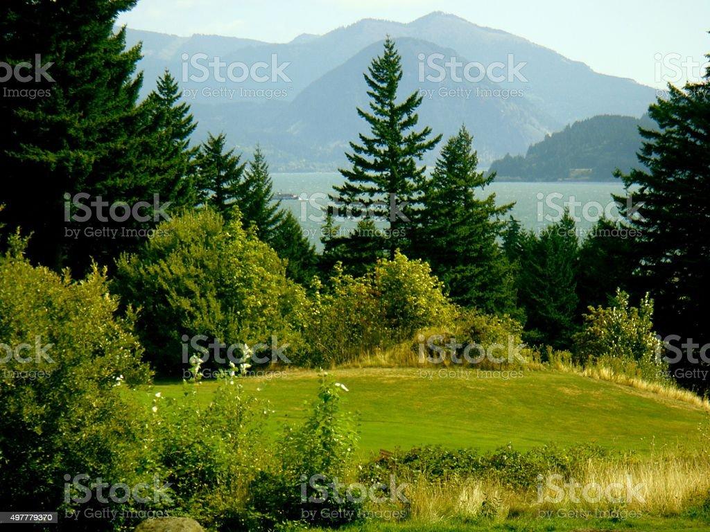 Columbia River Gorge toward Oregon from Washington stock photo
