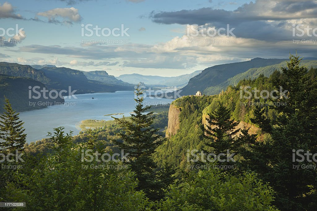 Columbia River Gorge with Vista House on bluff stock photo