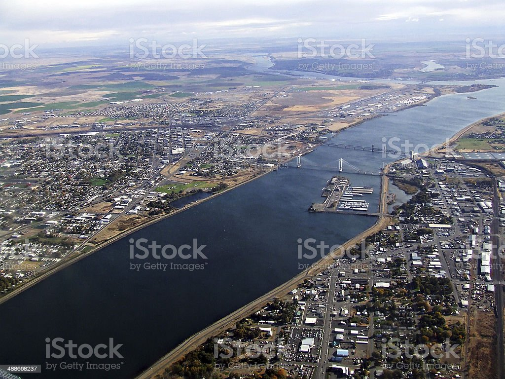 Columbia River through the Tri-Cities stock photo