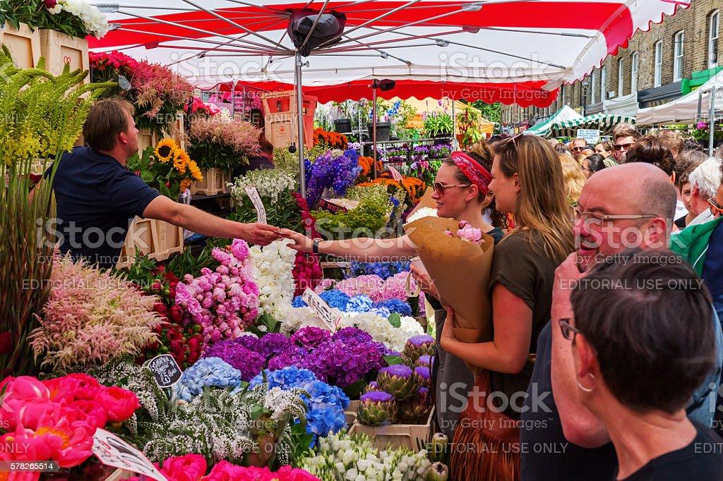Columbia Road Flower Market in London, UK stock photo