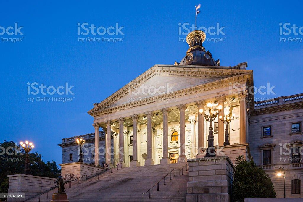 Columbia South Carolina Capitol Building illuminated at twilight stock photo
