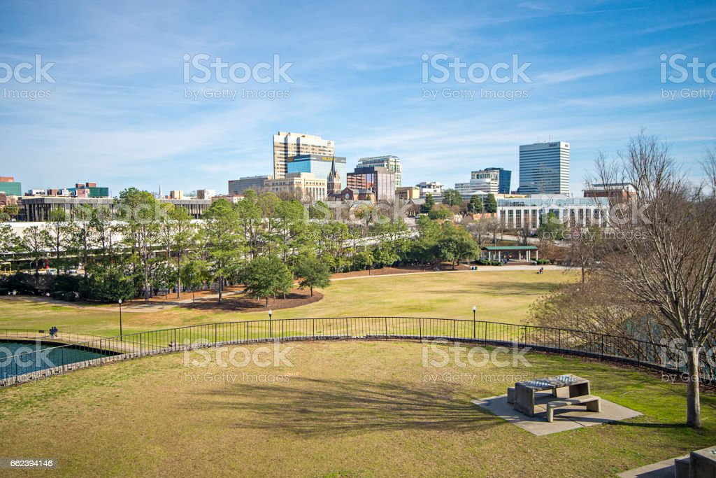 columbia south carolina city skyline view from an overlook stock photo