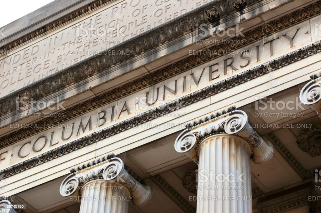 Columbia University Inscription On Low Memorial Library Facade stock photo