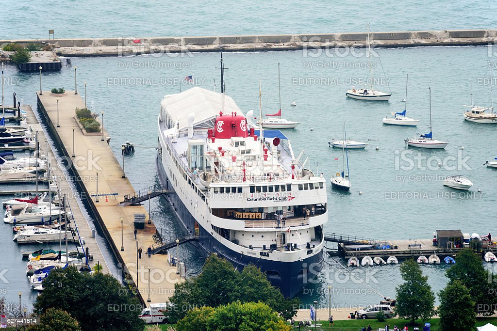 Columbia Yacht Club in Monroe Harbor, Chicago stock photo