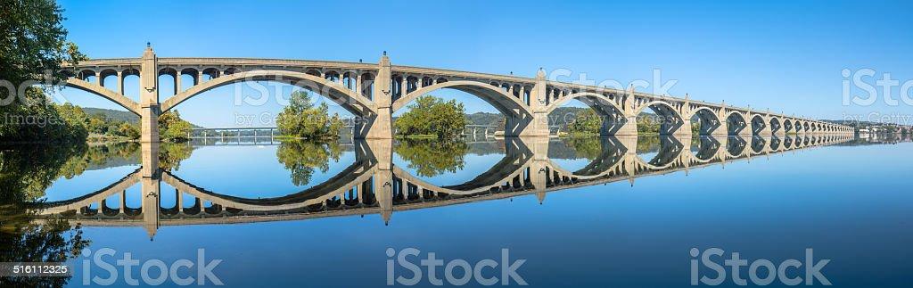 Columbia-Wrightsville Bridge Blue Sky Reflected in Susquehanna River Panorama stock photo