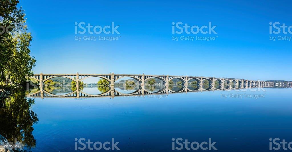 Columbia-Wrightsville Bridge over the Susquehanna River Panorama stock photo