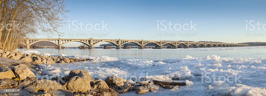 Columbia-Wrightsville Bridge - Winter Along the Susquehanna River Panorama stock photo