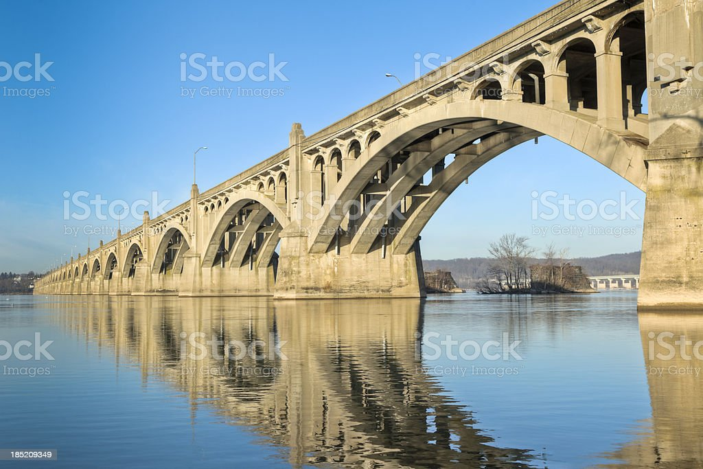Columbia-Wrightsville Bridge with Reflection in the Susquehanna River stock photo