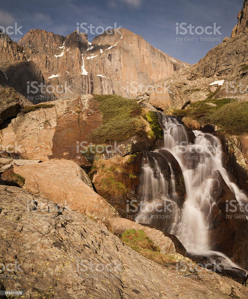 Columbine Falls and Long's Peak stock photo