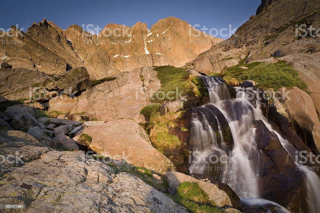 Columbine Falls with Rocks and Long's Peak stock photo
