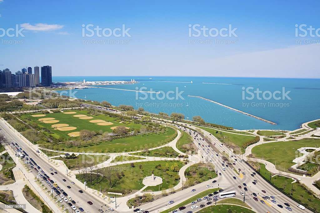 Columbus and Lake Shore Drive stock photo