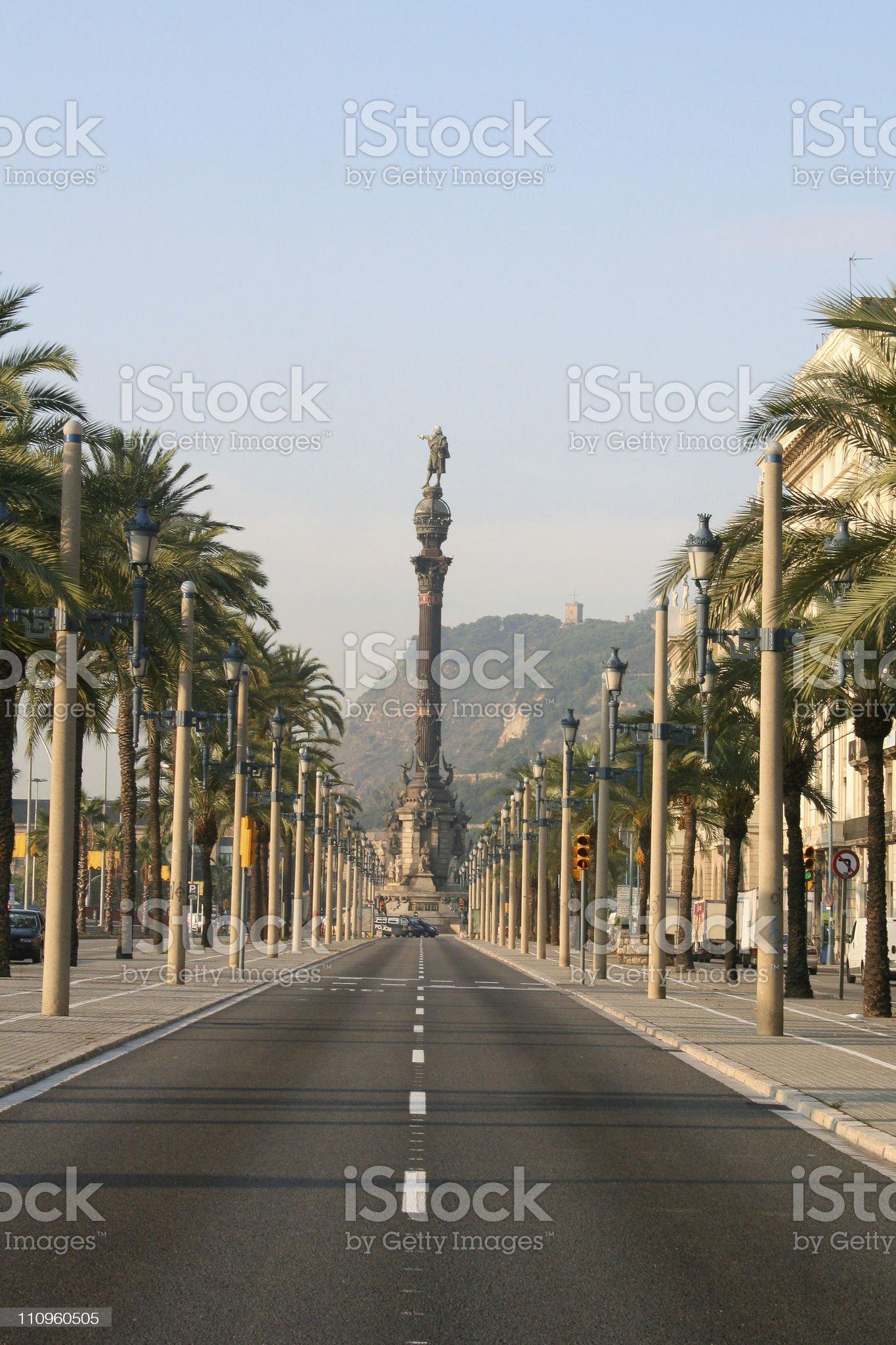 Columbus boulevard in Barcelona. royalty-free stock photo