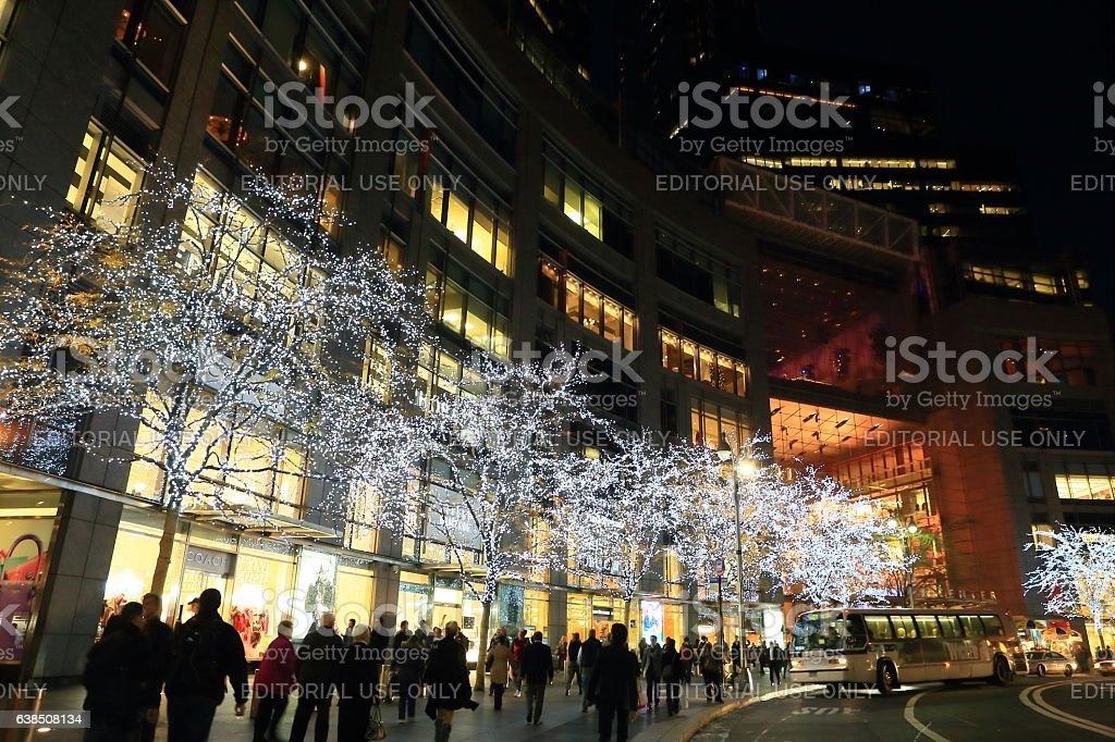 Columbus Circle in Christmas Season. stock photo