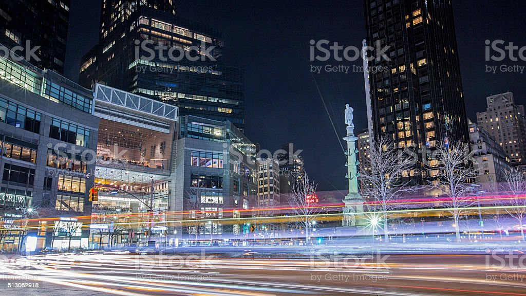 Columbus circle in New York City at night stock photo