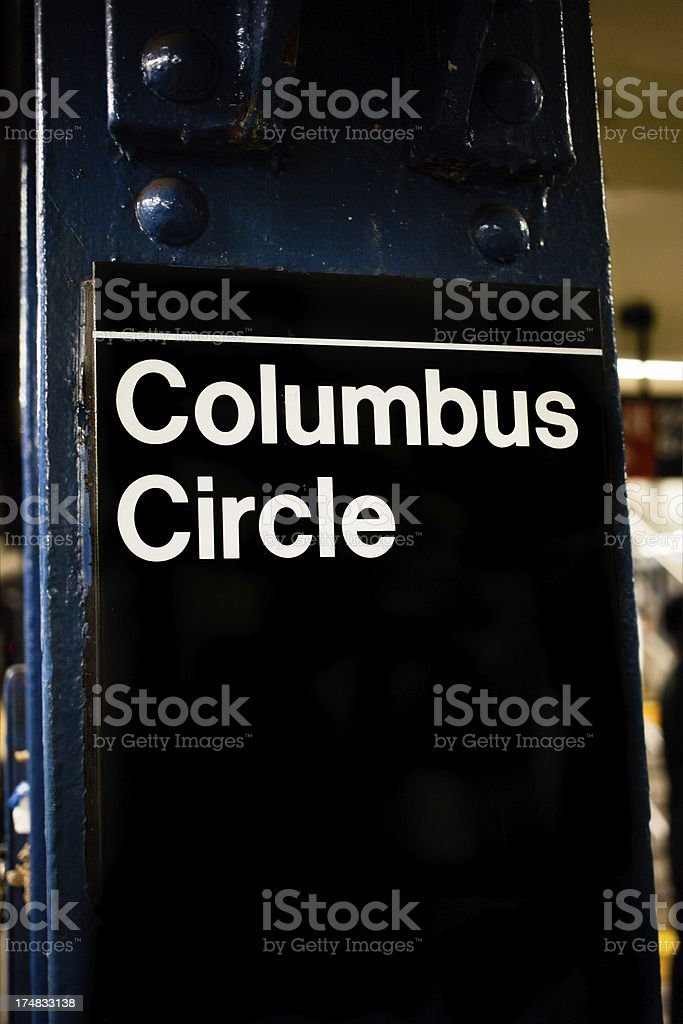 columbus circle subway sign royalty-free stock photo
