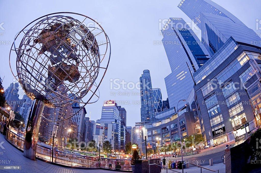 Columbus Circle with steel globe sculpture, New York City, USA stock photo