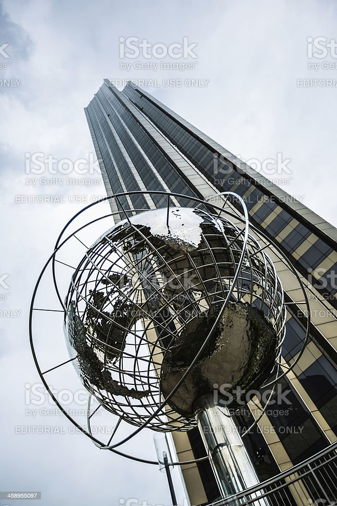 'Columbus Circle with steel globe sculpture, New York City, USA' stock photo