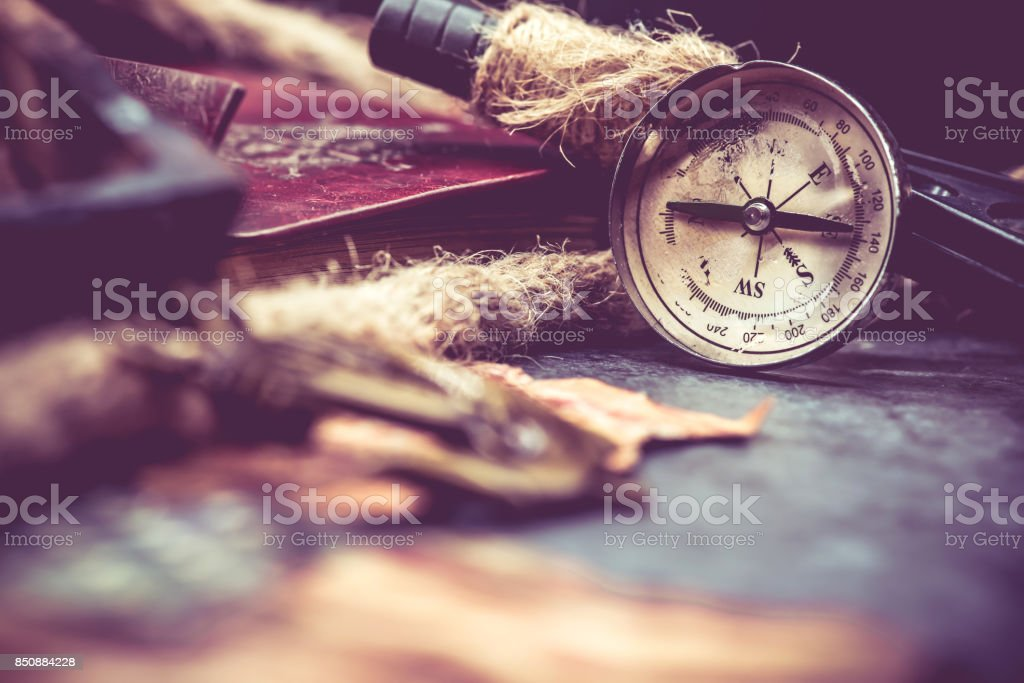 Columbus day and world map with compass stock photo