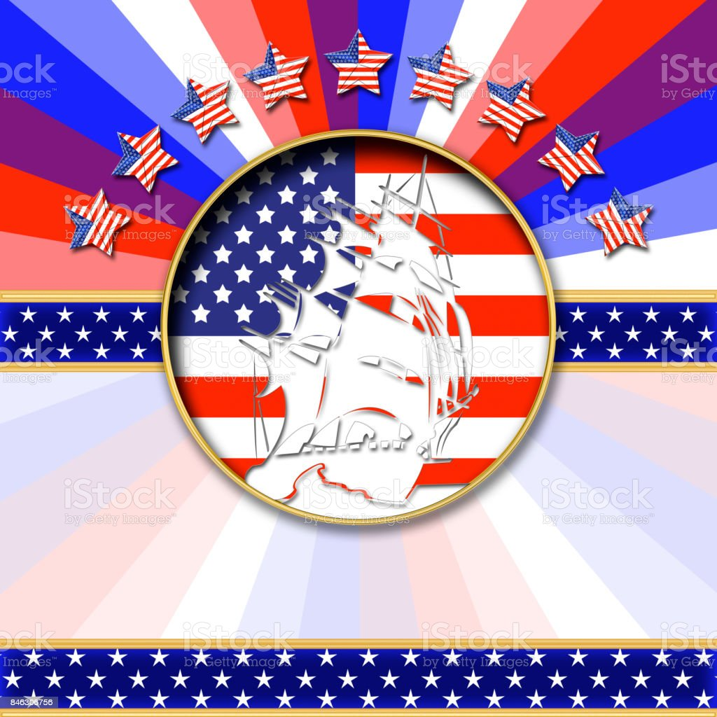 3D, Columbus Day, white silhouet of a sailboat in front of the American flag, Bright shiny text. stock photo