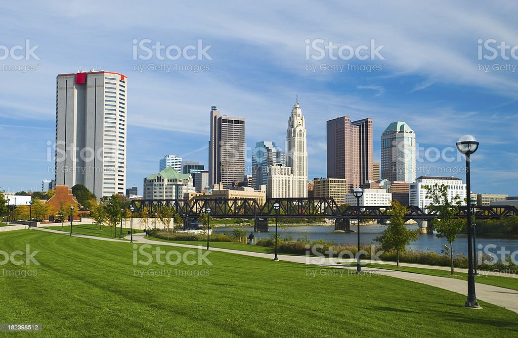 Columbus downtown, river, bridge, and park royalty-free stock photo