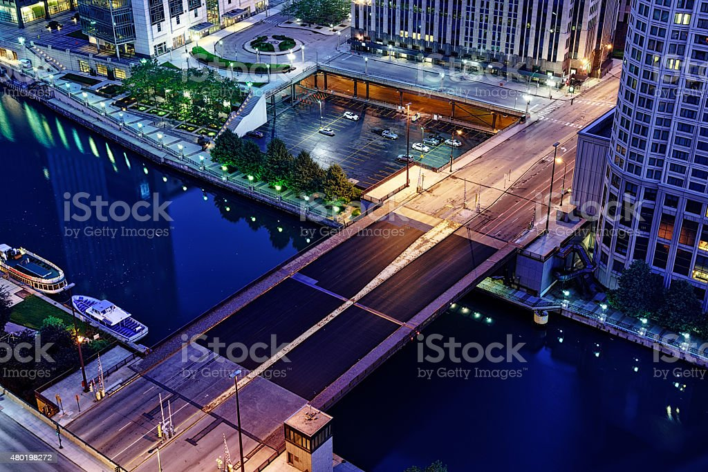 Columbus Drive Bridge across the Chicago River at night stock photo