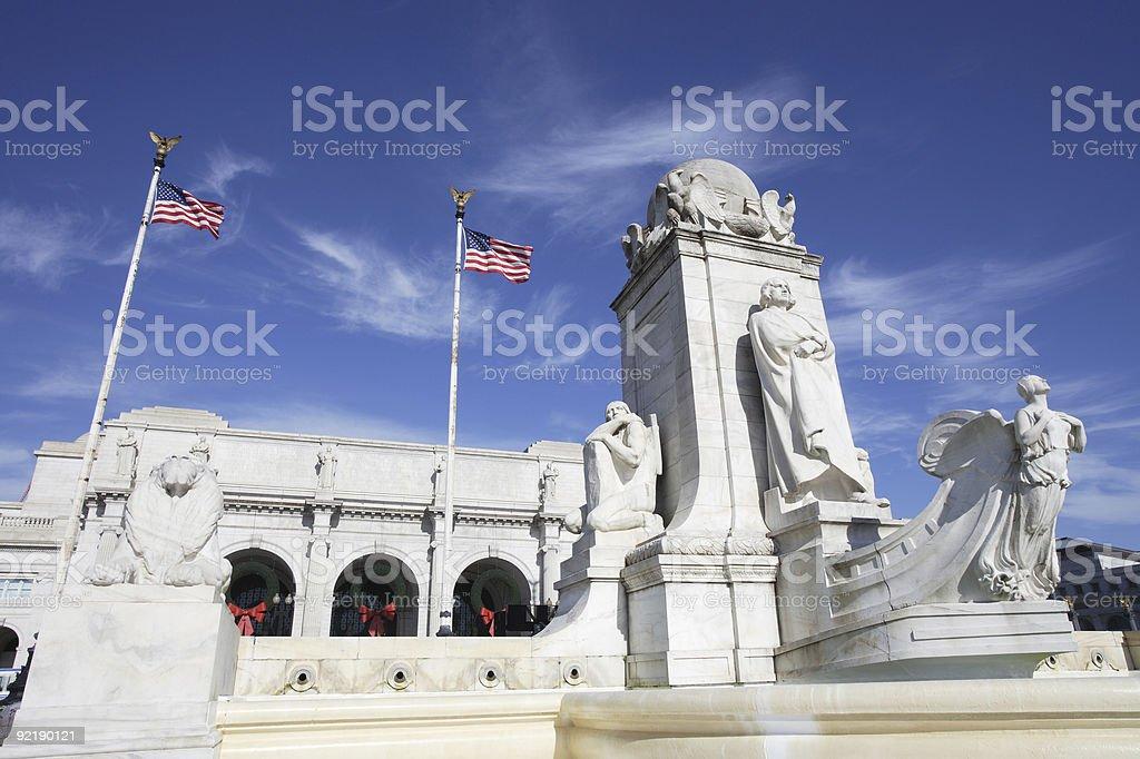 Columbus Fountain and Union Station, Washington, DC stock photo