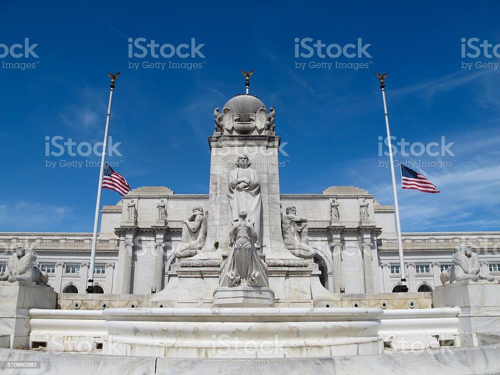 Columbus Fountain, Union Station in Washington, DC stock photo