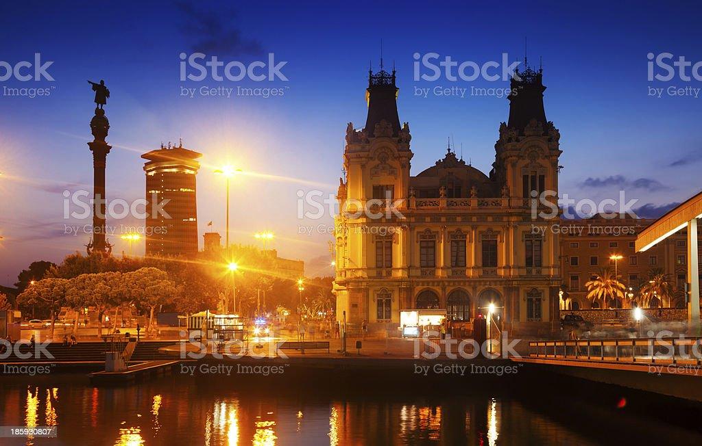 Columbus Monument in evening. Barcelona stock photo