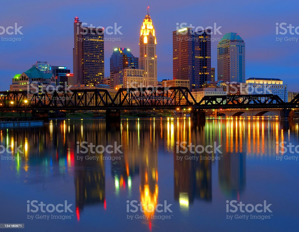 Columbus Ohio cityscape and skyline reflecting in water stock photo