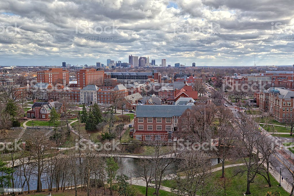 Columbus, Ohio with Ohio State University in the foreground stock photo