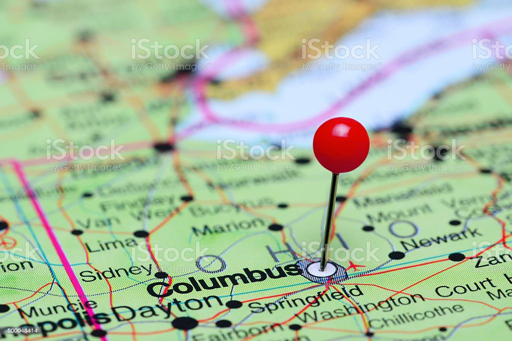 Columbus pinned on a map of USA stock photo