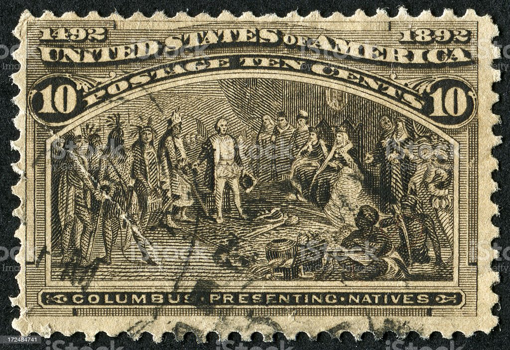 Columbus Presenting Natives Stamp royalty-free stock photo