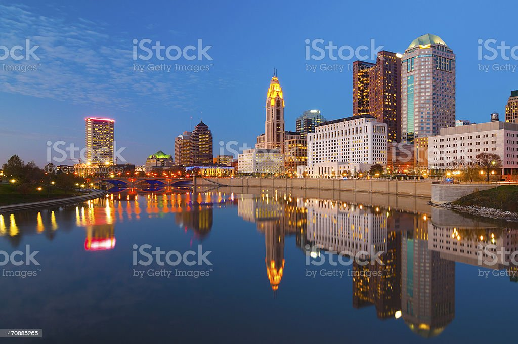 Columbus skyline and river at dusk stock photo