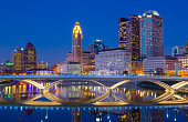 Columbus skyline at dusk / evening with river reflection