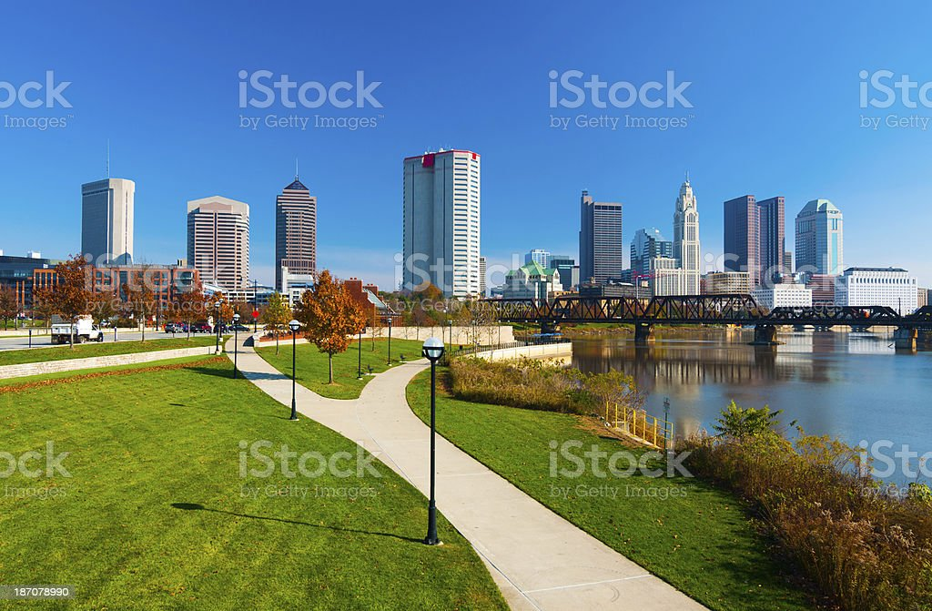 Columbus skyline, riverfront park, and river stock photo