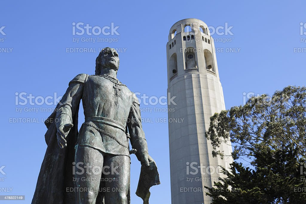 Columbus Statue and Coit Tower - San Francisco royalty-free stock photo