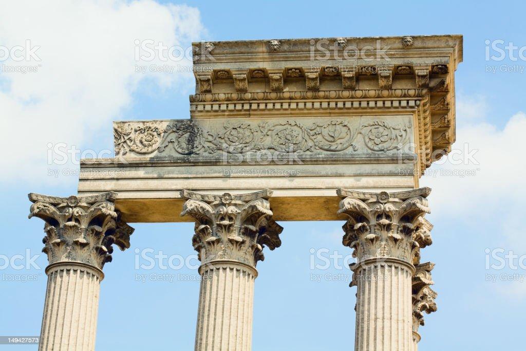 Column and rest apex of Roman Hafen-Temple Xanten stock photo