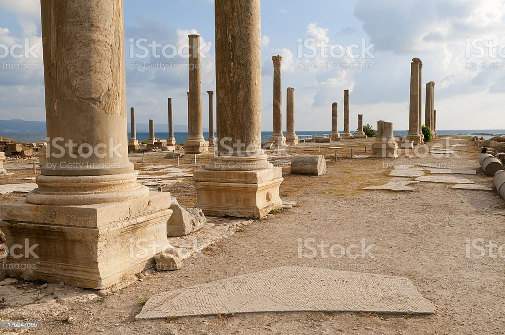 Al-Mina Archaeological Site in Tyre, Lebanon royalty-free stock photo