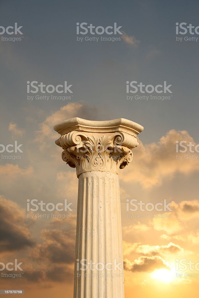 Column at sunset stock photo