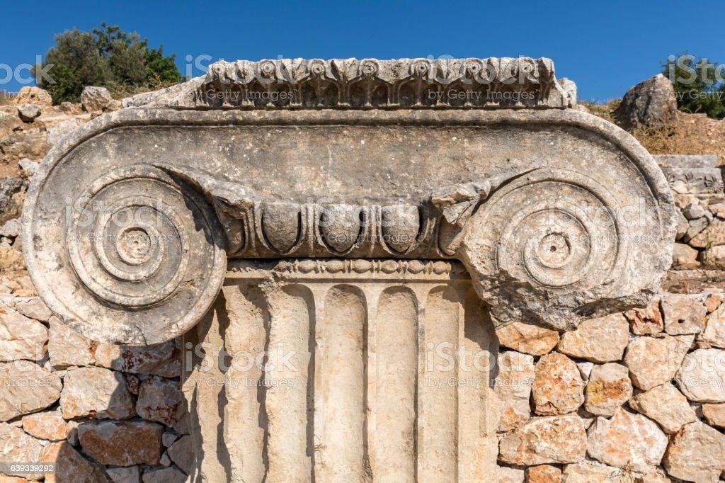 Column head in Letoon ancient city, Mugla stock photo