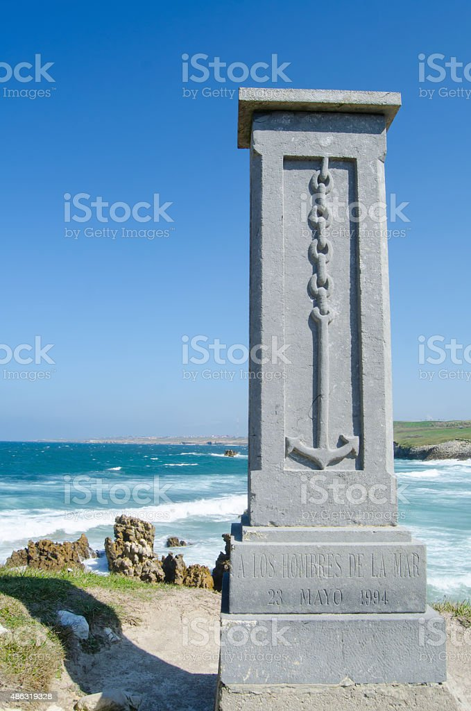 Column in front of the beach stock photo