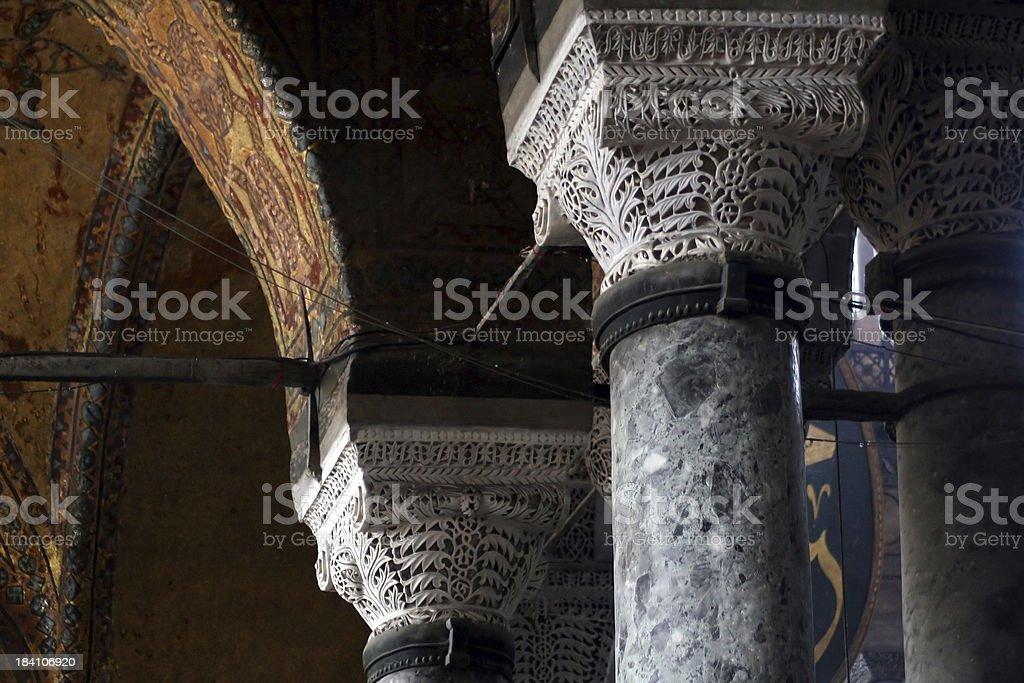 Column in Hagia Sofia royalty-free stock photo
