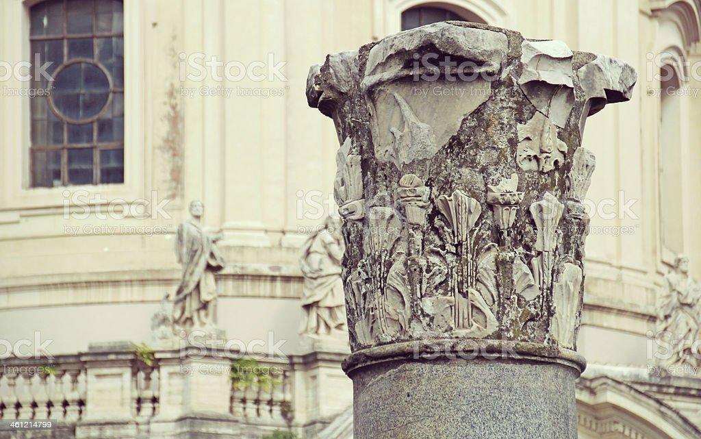 Column in Trajan's Forum, Rome, Italy. stock photo