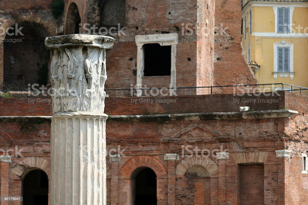 Column in Trajan's Forum, Rome Italy royalty-free stock photo