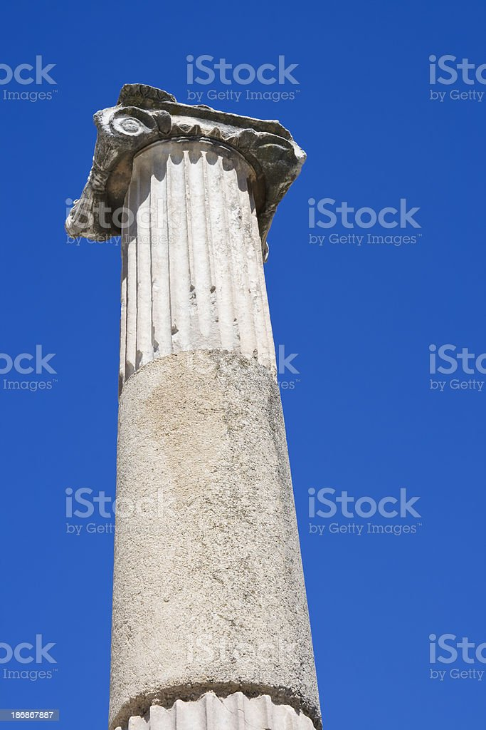 Column of an ancient Temple in Ephesus, Turkey royalty-free stock photo