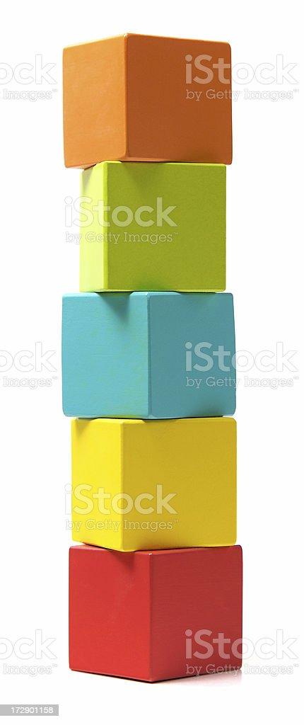 Column of building blocks stock photo