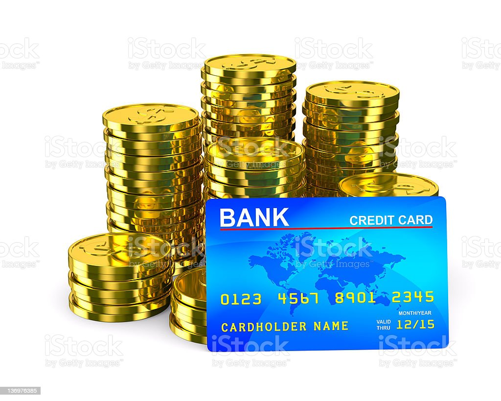 Column of golden coins and credit card. Isolated 3D image royalty-free stock photo
