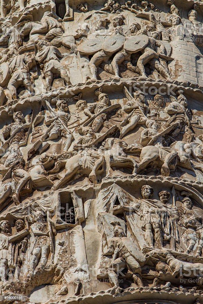 Column of Marcus Aurelius in Rome stock photo